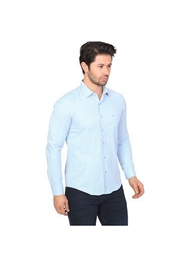 White Stone Pamuklu Slim Fit Uzun Kollu Gömlek O.Mavi Mavi